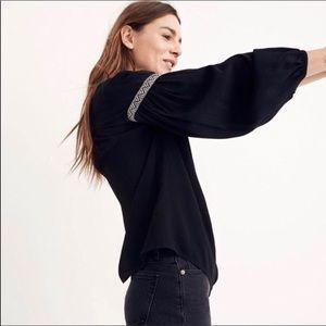 Madewell Black Blouson Sleeve Long Sleeve Top